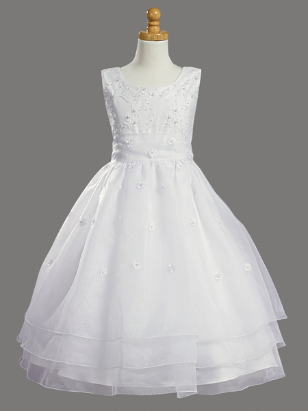 White Embroidered Organza Amp Pearled Bodice First Communion