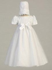 White Embroidered Satin Ribbon Bodice w/ Tulle Skirt
