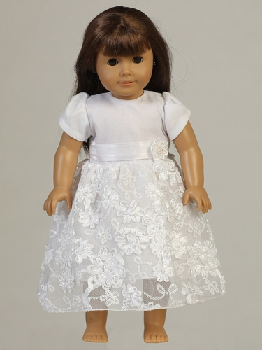 "White Embroidered Satin Ribbon Tulle 18"" Doll Dress"