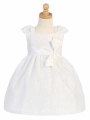 White Embroidered Tulle Dress w/ Bow