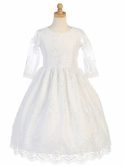 White Embroidered Tulle � Sleeve Dress