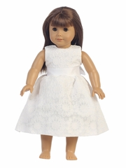 White Floral Jacquard 18� Doll Dress