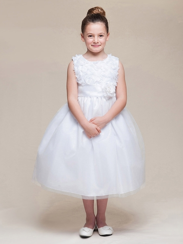 White Floral Ribbon Bodice & Tulle Skirt Dress w/Flower & Sash