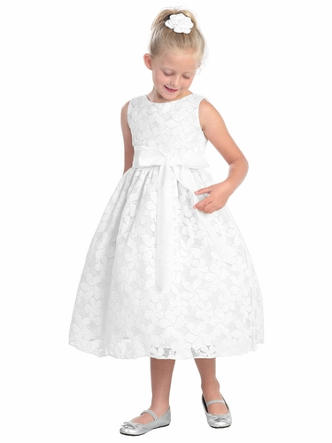 White Flower Embroidered Lace Dress w/ Removable Sash