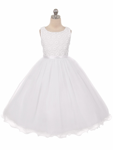 White Flower Embroidered Tulle Dress