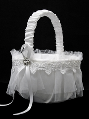 White Flower Girl Basket w/ Lace