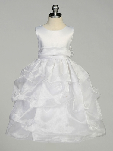 White Flower Girl Dress - Matte Satin Bodice Gathered Organza