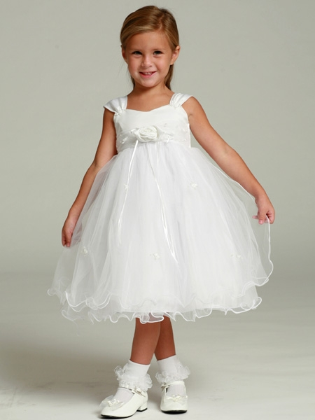 Flower Girl Dress - Matte Satin Bodice Rose Bud