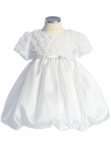 White Flower Girl Dress - Rose Embroidered Tulle Taffeta Dress