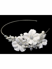 White Flower Rhinestone Headband