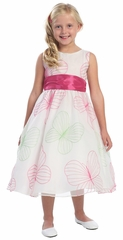White/Fuchsia Large Butterfly Embroidered Organza Dress