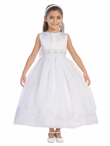 White Full Length Dress w/ Corded Lace Trim & Rhinestone Accent