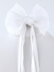 White Hair Clip w/ Ribbon