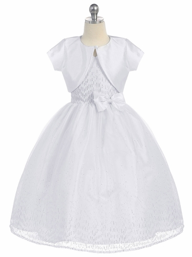 White Halter Communion Dress Sparkle Bodice & Bolero
