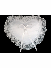 White Heart Shape Ring Bearer Pillow