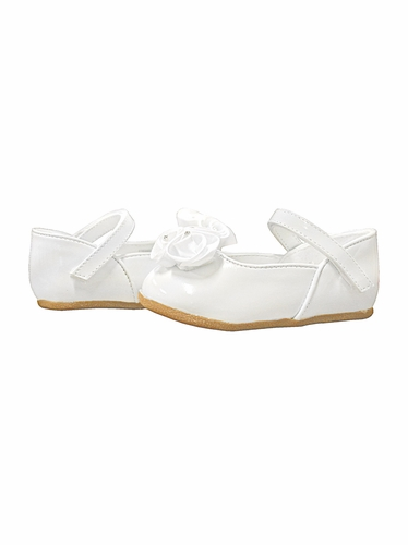 White Infant Shoes with Satin Flowers