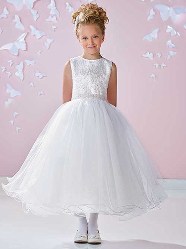 White Joan Calabrese Satin & Tulle Dress w/ Beaded Bodice