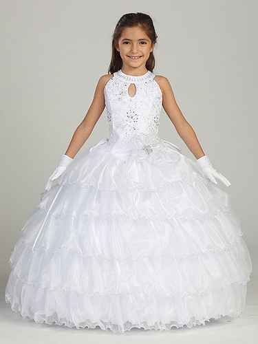 White Keyhole Round Neck w/ Ruffles Skirt & Criss Cross Back