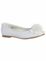 White Kids Flats With Crystal Bead Bow