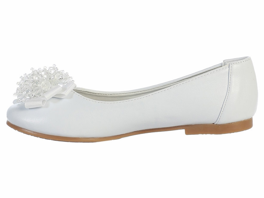 white flats with bead bow