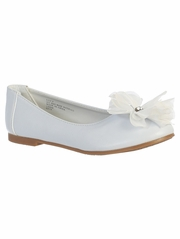 White Kids Flats w/ Flower Bow & Rhinestone