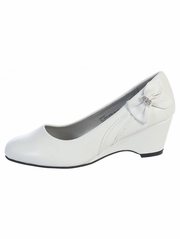 White Kids Wedge Shoe