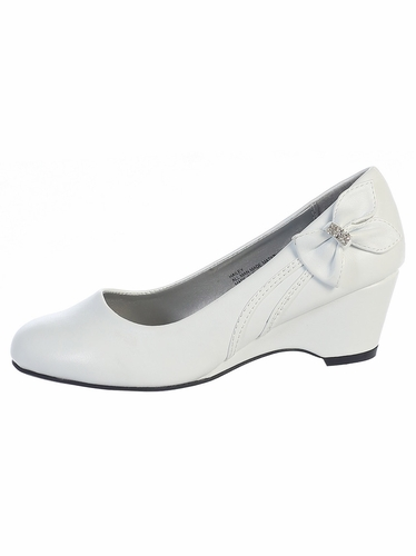 Kids White Wedge Shoe