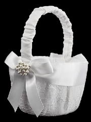 White Lace Basket w/ Satin Bow & Pearls