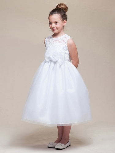 White Lace Bodice w/ Tulle Skirt & Flower Sash