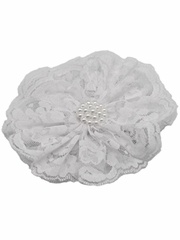 White Lace Flower Clip
