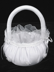 White Lace Satin Flower Basket