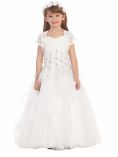 White Lace Tiered Dress w/ Bolero
