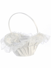 White Lace Trim Basket w/ Pearl Accents