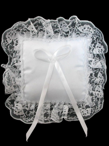 White Lace Trim Square Ring Bearer Pillow
