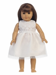 "White Lace & Tulle 18"" Doll Dress"