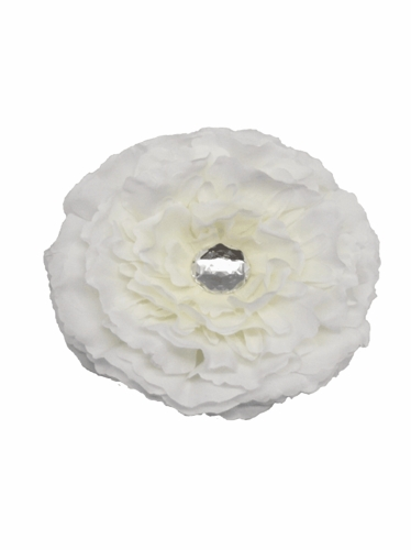 White Large Peony Clip