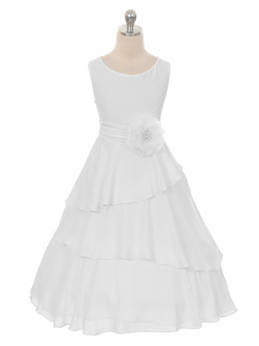 White Layered Chiffon Dress w/ Waistband & Flower