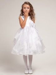 White Layered Organza Dress w/ Satin Bodice