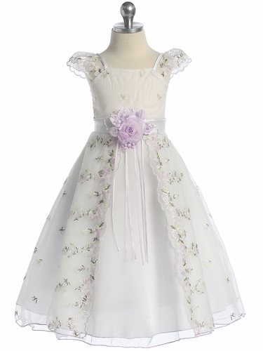 White/Lilac Floral Embroidered Organza Girl Dress