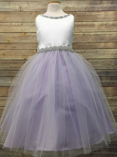 White/Lilac Satin & Tulle Dress w/ Gem Neckline & Belt