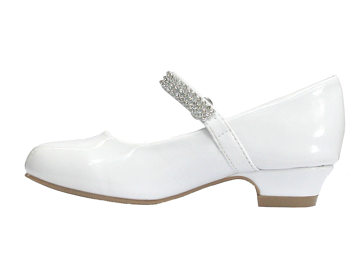 Girls dress shoes white patent low heel girls dress shoe w rhinestone