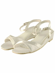 White Low Profile Wedge Heel Shoes