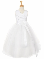 White Matte Satin V-Neck Tulle Skirt Dress w/ Detachable Sash & Flower