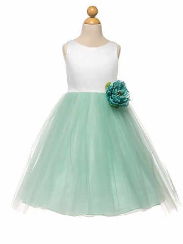 White/Mint Satin & Tulle Dress w/ Flower