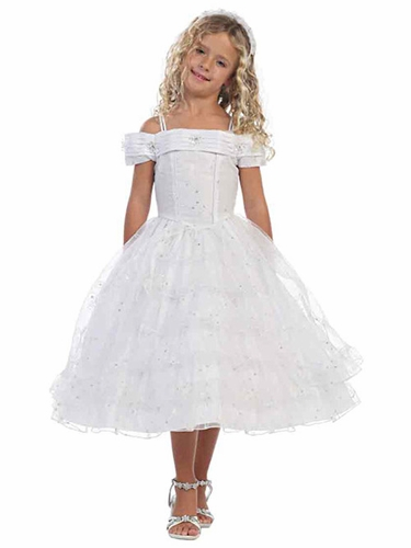 White Off Shoulder Embroidered Organza Pageant Dress