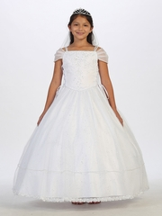 White Off The Shoulder Tulle Communion Dress