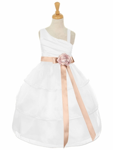 White One Shoulder Bodice w/ 3 Layered Trimmed Organza Skirt