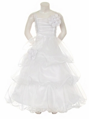 White Organza 3 Tier Dress w/ Flowers