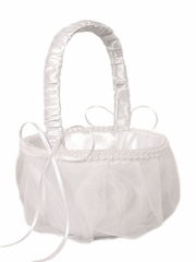White Organza Cover Rose Pattern Design Flower Girl Basket