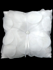 White Organza Cover Rose Pattern Design Ring Bearer Pillow